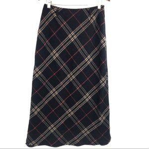 Vintage Black Plaid Wool Midi Skirt 8